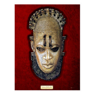 Queen Mother Idia - Ivory Edo Mask on Red Velvet Postcard