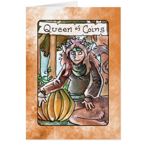 Queen of Coins Greeting Cards