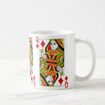 Queen Of Diamonds Playing Card Basic White Mug