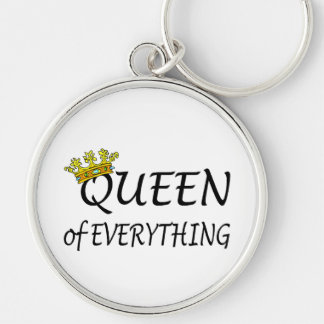 Queen Of Everything Crown Silver-Colored Round Key Ring
