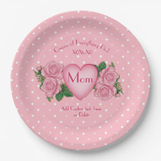 Queen of Everything Pink Mom Paper Plate
