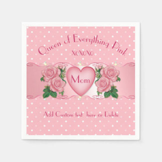Queen of Everything Pink Mum Paper Napkin