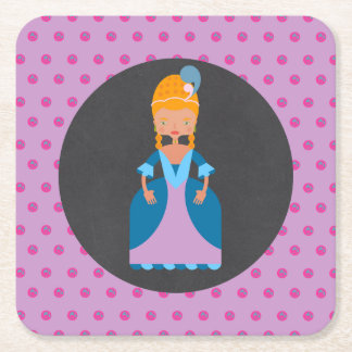Queen of France girl birthday party Square Paper Coaster