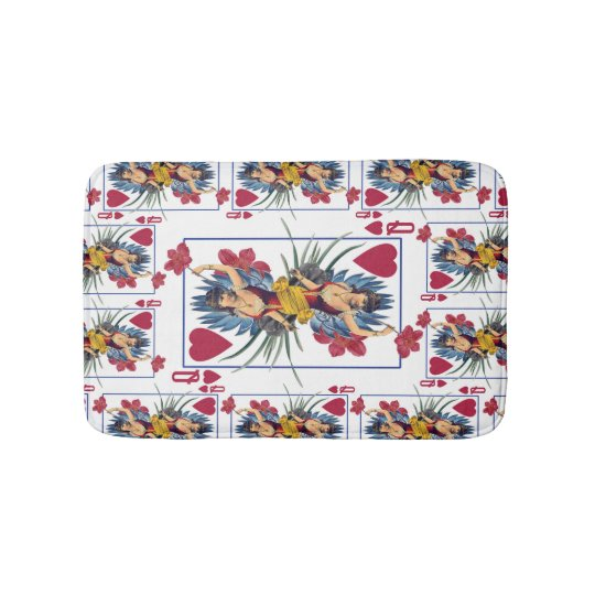 Queen of Hearts and Flowers Bath Mat