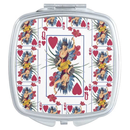 Queen of Hearts and Flowers Compact Mirrors