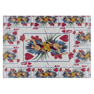 Queen of Hearts and Flowers Cutting Board