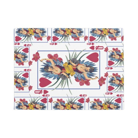 Queen of Hearts and Flowers Doormat