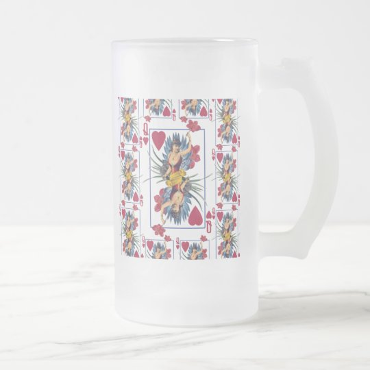Queen of Hearts and Flowers Frosted Glass Beer Mug