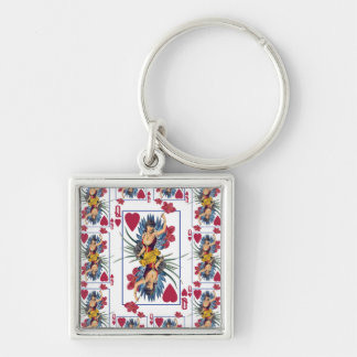 Queen of Hearts and Flowers Key Ring