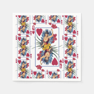 Queen of Hearts and Flowers Paper Napkins