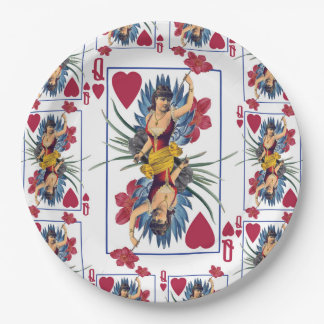 Queen of Hearts and Flowers Paper Plate