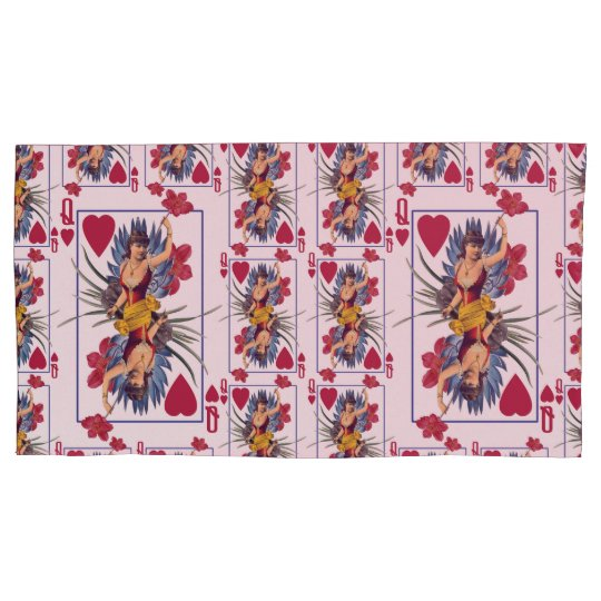 Queen of Hearts and Flowers Pillowcase
