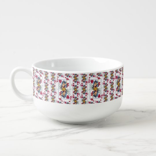 Queen of Hearts and Flowers Soup Mug