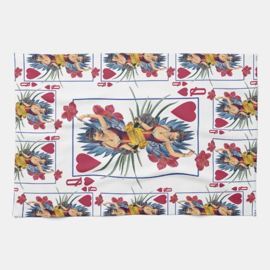 Queen of Hearts and Flowers Tea Towel