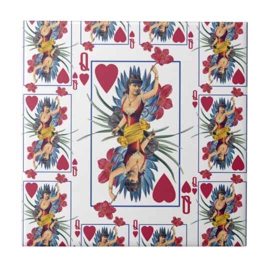 Queen of Hearts and Flowers Tile