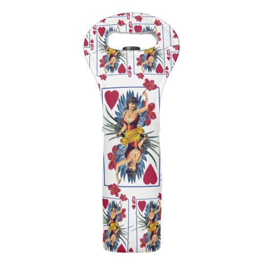 Queen of Hearts and Flowers Wine Bag