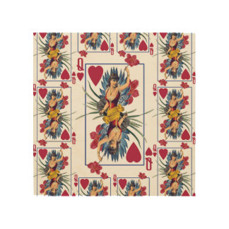 Queen of Hearts and Flowers Wood Print