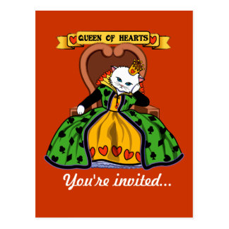 Queen of hearts cat postcard
