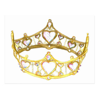 Queen of Hearts crown tiara postcard