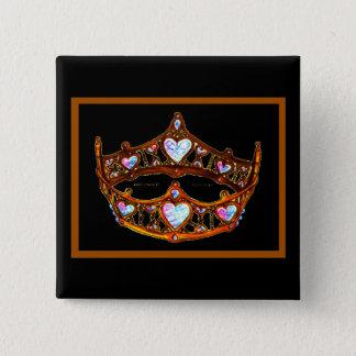 Queen of Hearts Gold Crown Tiara black button pin