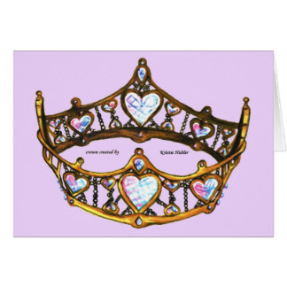 Queen of Hearts Gold Crown Tiara pink lilac card