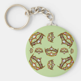 Queen of Hearts Gold Crowns Tiaras green keychain