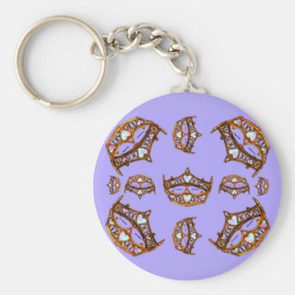 Queen of Hearts Gold Crowns Tiaras periwinkle Basic Round Button Key Ring