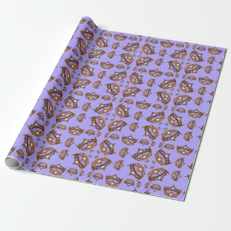 Queen of Hearts Gold Crowns Tiaras periwinkle gift Wrapping Paper