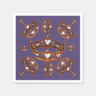Queen of Hearts Gold Crowns Tiaras Ultra Violet Paper Napkin