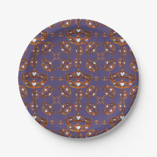 Queen of Hearts Gold Crowns Tiaras Ultra Violet Paper Plate