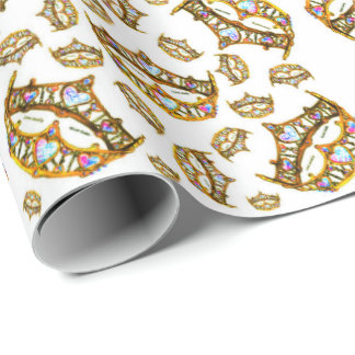 Queen of Hearts Gold Crowns Tiaras wrapping paper