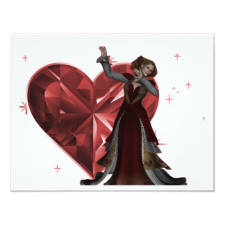 Queen Of Hearts & Heart Jewel - Red & Colour Invites