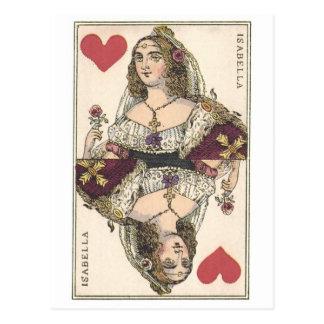 QUEEN OF HEARTS - ISABELLA Vintage print Postcard