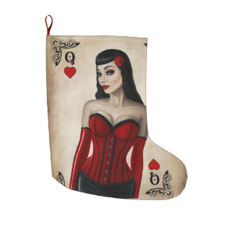 Queen of Hearts Large Christmas Stocking