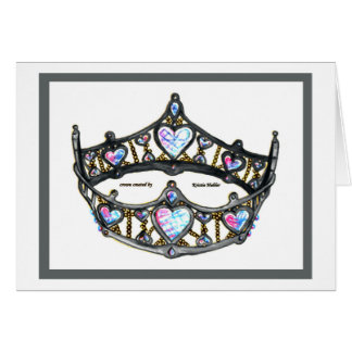 Queen of Hearts Silver Crown Tiara on white card