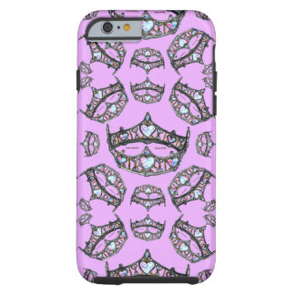 Queen of Hearts Silver Crowns Tiaras pink lilac Tough iPhone 6 Case