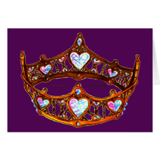 Queen of Hearts Warm Gold Crown Tiara royal purple Card