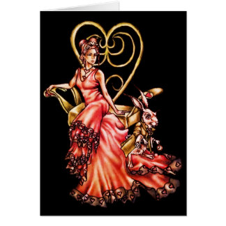 Queen of Hearts with White Rabbit Drawing Card