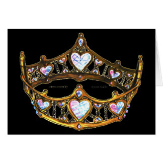 Queen of Hearts Yellow Gold Crown Tiara black Card