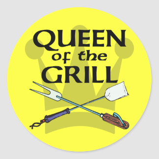 Queen of the Grill Round Sticker