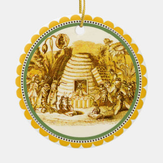 QUEEN OF THE HONEY BEES  IN SKEP / BEEKEEPER CHRISTMAS TREE ORNAMENT