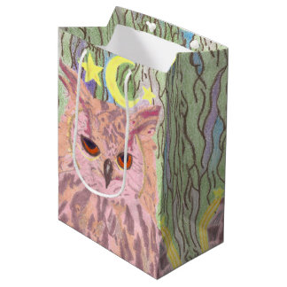 Queen of the Night Girly Owl Medium Gift Bag