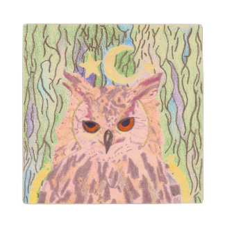 Queen of the Night Girly Owl Wooden Coaster