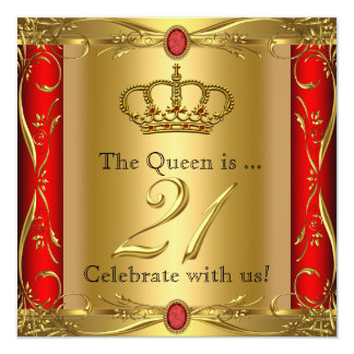 "Queen or King Regal Red Gold 21st Birthday Party 5.25"" Square Invitation Card"