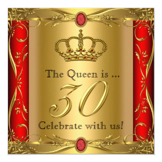 Queen or King Regal Red Gold 30th Birthday Party 13 Cm X 13 Cm Square Invitation Card