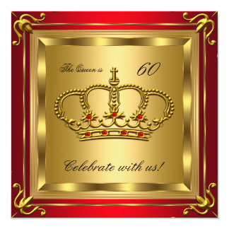 "Queen or King Regal Red Gold Birthday Party 2 5.25"" Square Invitation Card"