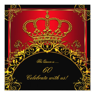 Queen or King Regal Red Gold Royal Birthday Party 13 Cm X 13 Cm Square Invitation Card