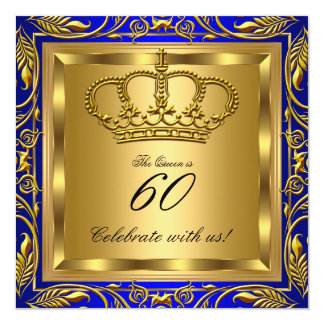 "Queen or King Royal Blue Gold Elite Birthday Party 5.25"" Square Invitation Card"