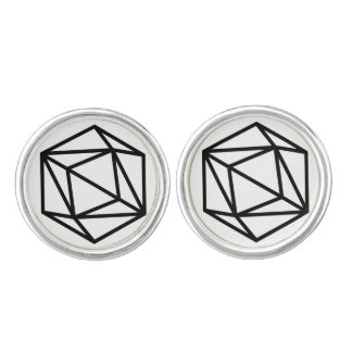 Queen (p) / Round Cufflinks, Silver Plated Cuff Links