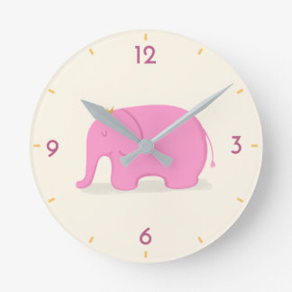 Queen Pink Elephant Cute Cartoon Kids' Wall Clock
